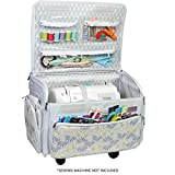 xl sewing machine trolley - Everything Mary 4 Wheels Collapsible Deluxe Sewing Machine Storage Case, White - Rolling Trolley Carrying Bag for Brother, Singer, Bernina & Most Machines - Travel Tote Organizer for Accessories