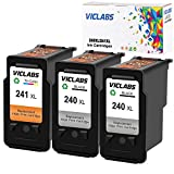 VicLabs ReManufactured Ink Cartridges Replacement for Canon PG-240XL 240 XL CL-241XL 241 XL Works with Canon PIXMA MG3620 MX472 MX452 MG3220 MX432 MX532 MG3520 MX512 Printer(2Black+1Tri-Color)