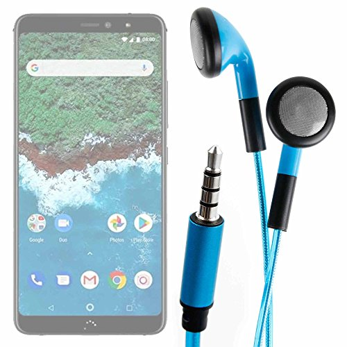 DURAGADGET Auriculares In-Ear con Luz LED Azul para Smartphone BQ Aquaris X2, BQ Aquaris X2 Pro - ¡Las Luces Se Mueven Al Ritmo De La Música!
