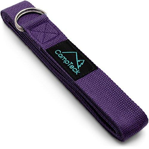 CampTeck U6822 Cinta Yoga Anillo D Poliéster Ajustable Yoga Strap de Estiramiento para Posturas, Flexibilidad, Alineación, Resistencia para Pilates, Yoga, Fitness y Ejercicio - 183cm