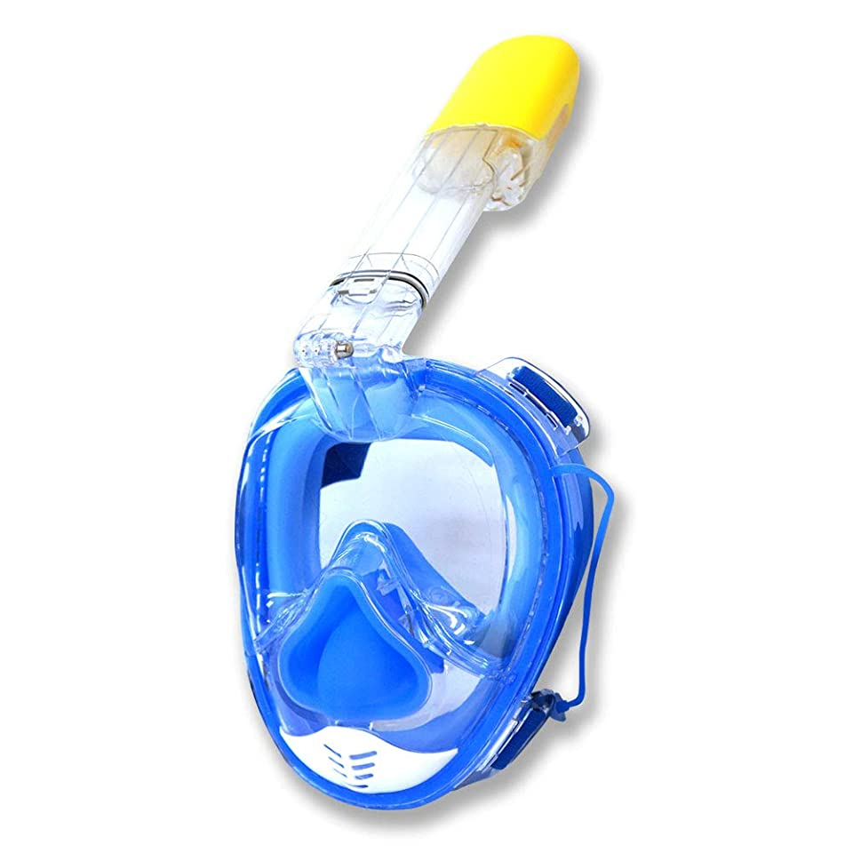 精度思慮深い拮抗シュノーケル マスク 水中メガネ ワイドビュー スキンダイビング 耳抜き シリコン ワイドビュー 大人用 子供用 メンズ レディース ブルー [XM417L]