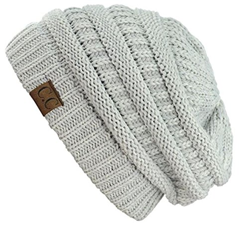 C.C Trendy Warm Chunky Soft Stretch Cable Knit Beanie Skully, 2 Tone Light Grey