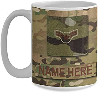 US Air Force (USAF) Airman First Class (A1C) E3 OCP Coffee Cup - Personalized Military OCP Uniform 15 oz Mug - Customize with Name/Text/Rank (White)