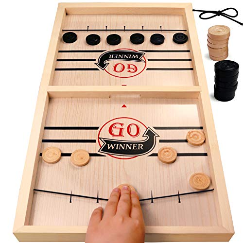 aotipol Fast Sling Puck Game Large Size Wooden Board Games for Family amp Friends 22 x 12 in Hockey Foosball Winner Game Natural Wood Table Desktop Battle 2 Player Game for Kids amp Adults