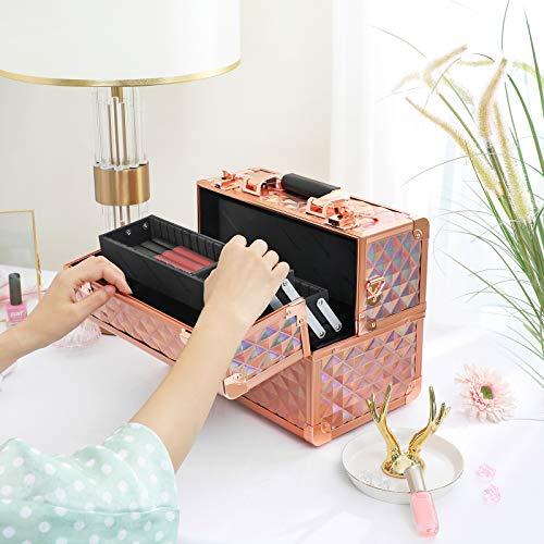 SONGMICS Kosmetikkoffer Schminkkoffer, Make-up Aufbewahrung, Organizer für die Reise, für Friseure und Visagisten, abschließbare Box mit Tragegurt, roségold metallic JBC323RD