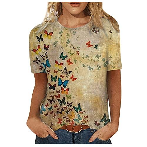 MOMONIHAO Damen Sommer 3D Bunt Schmetterling Katze Motiv Loose Patchwork Pullover Rundhals Kurzarm Tops T-Shirts