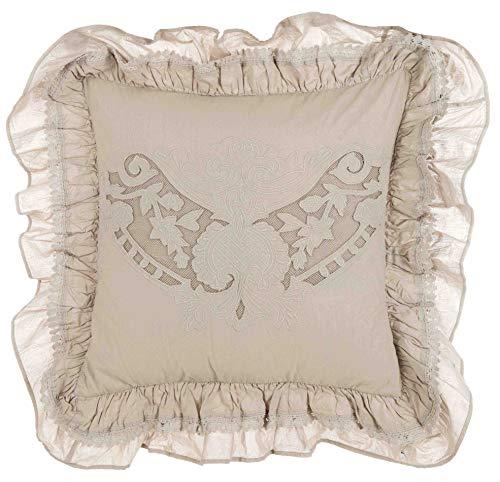 Blanc Mariclo - Cuscino cuscino beige ricamato con balze 45 x 45 cm