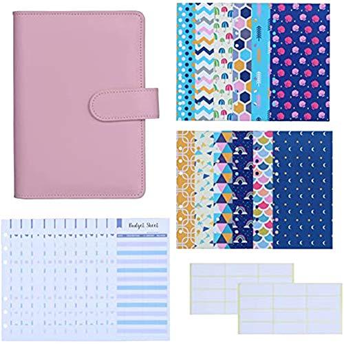 Timagebreze PU Leather Folder Budget Cash Envelope System Budget Envelope Expenditure Budget Sheet and Banknote Planning Label C