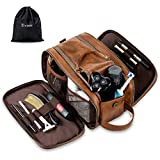 Elviros Toiletry Bag for Men, Large Travel Shaving Dopp Kit Water-resistant Bathroom Toiletries Organizer PU Leather Cosmetic Bags