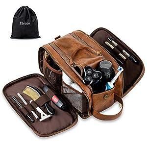 Bolsas de Aseo de Cuero para Hombres Impermeable Neceser de Viaje de Lavado Kit de Afeitado Dopp Grande Organizador de…