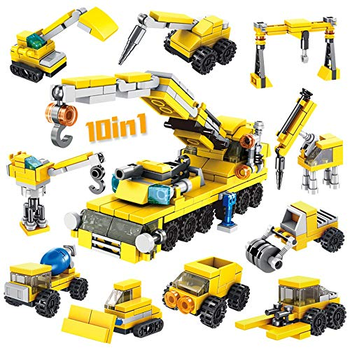 Read About Blocks Kids 3-12 Years Old Heavy-duty Crane Bulldozer Engineering Car Assembling Building...