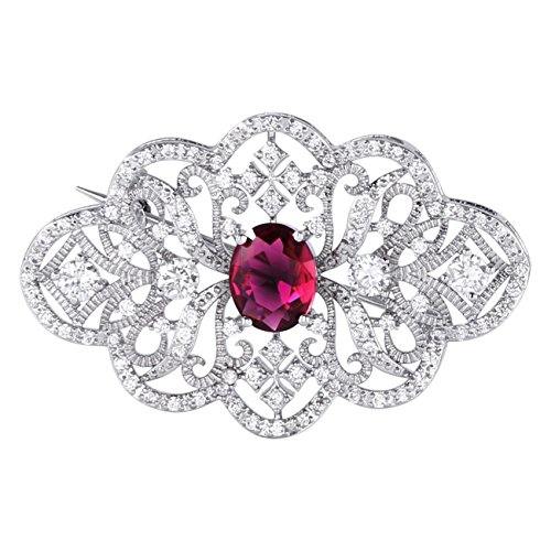 GULICX Red Cubic Zirconia Brooch Art Deco Silver Plated Base Art Deco Ruby Color Pin for Women Party