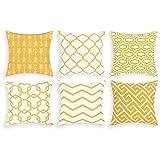 Alishomtll Juego de 6 fundas de cojín decorativas para exteriores, diseño geométrico, poliéster, 50 x 50 cm, color amarillo