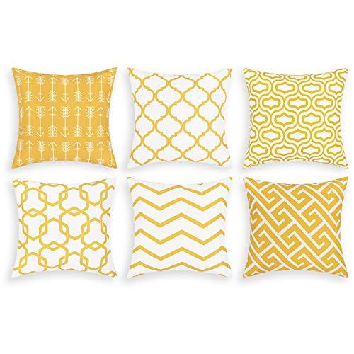 Alishomtll 6er Set Kissenbezug Outdoor Kissenhülle Zierkissenbezug Deko für Couch Sofa Polyester 45 x 45 cm, Gelb