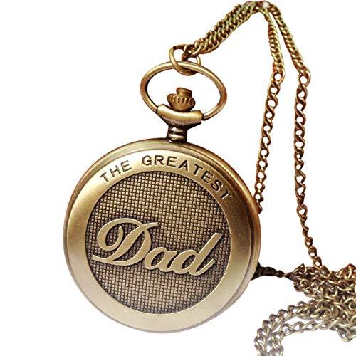 Números Romanos Colgante de Cadena VintageRetro El Mejor Collar Retro Reloj Fob Relojes Collar Reloj de Bolsillo de Cuarzo Regalos para papá A