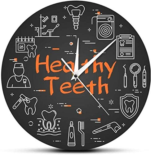youmengying Co.,ltd Wall Clock Healthy Teeth Dental Care Equipment Hanging Brushing Dentist Healthcare And Medicine Medical Clinic Decoration Wall Hanging Clock 30X30Cm