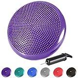 REEHUT Cojín de Equilibrio, Disco de Equilibrio para Fitness, Yoga, Pilates, Entrenamiento y Ejercicio Físico, Disco de Inestabilidad Hinchable con Bomba de Aire Incluida (Diámetro 33cm, Púrpura)