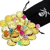 Kasyat Set de Gemas Monedas de Pirata Incluye 15 Monedas de Oro de Plástico y 10 Gemas de Colores de Pirata con Monedero de Pirata con Cordón para Recursos de Juego, Bolsa de Regalo, Fiesta