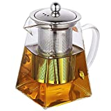 Vivoice Ultra 8.5oz(One Cup) Clear Heat Resistant Glass Teapot Infuser with 250 ml Glass Filter (250ml)