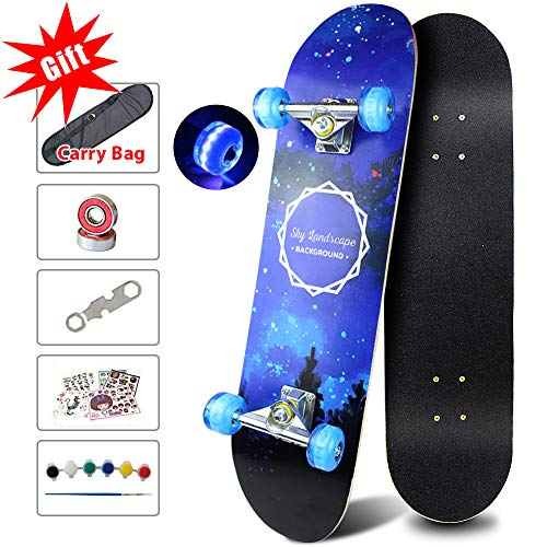 Easy_Way Complete Skateboards- Standard Skateboards with Colorful Flashing Wheels for Beginners Starter, Kids Boys Girls Youth- 31''x 8''Canadian Maple Cruiser Pro Skate Boards,Longboard Skateboards
