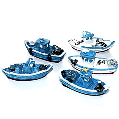 Musykrafties 5 Retro Sea Fishing Boats Boat Ship Aquarium Terrariums Miniature Garden Fairy Gardens Doll House Cake Topper Resin Decoration Random Colours by musykrafties