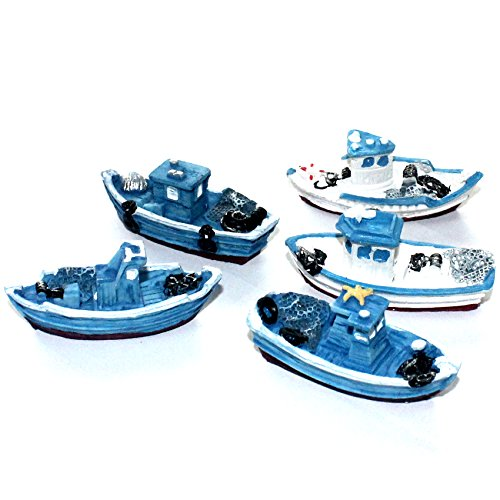 musykrafties 5 Retro Zee Vissersboten Bootschip Aquarium Terrariums Miniatuur Tuin Fee Tuin Poppenhuis Taart Topper Hars Decoratie Willekeurige Kleuren