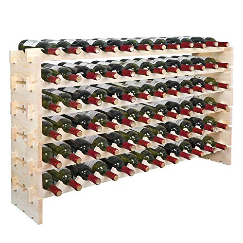 Smartxchoices Stackable Modular Wine Rack Floor Wine Storage Stand Wooden Wine Holder Display Shelves, Wobble-Free, Solid Wood, Free Standing (Six-Tier, 72 Bottle Capacity) (Wood) (72 Bottle)