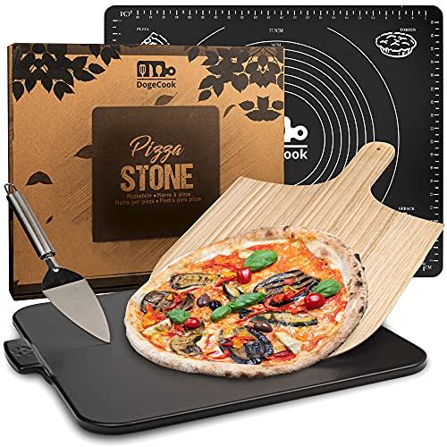 DOGE COOK Pierre à Pizza Vernie + Pelle à Pizza en Bambou + Spatule + Tapis Cuisine en Silicone | Kit Pizza Complet | Pierre Pizza pour Barbecue et Four | Accessoire Cuisine Premium