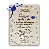 Crociedelizie, targa targhetta ricordo per madrina padrino battesimo idea regalo ringraziamento personalizzata personalizzabile nome e data completa di scatola regalo in omaggio