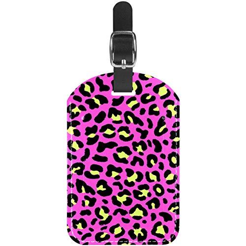 Etiquetas de equipaje sin costuras de piel de leopardo rosa para maleta...