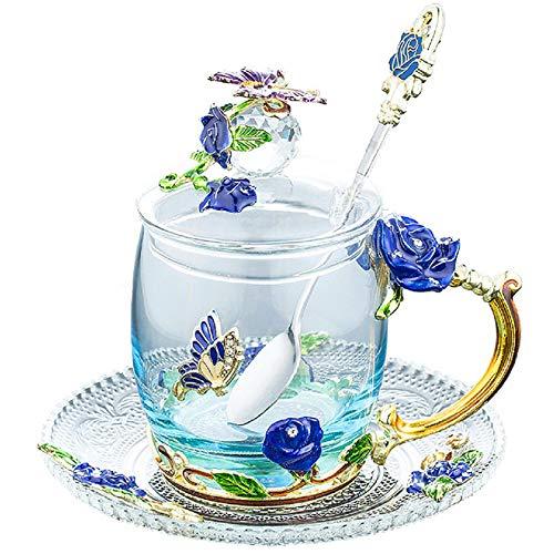 ガラスティーカップコーヒーマグ手芸3 Dヴィンテージフラワーカップとふたコースターとティースプーン、ユニークな蝶とブルーローズエナメルデザイン、最高のギフト装飾(320 ml)