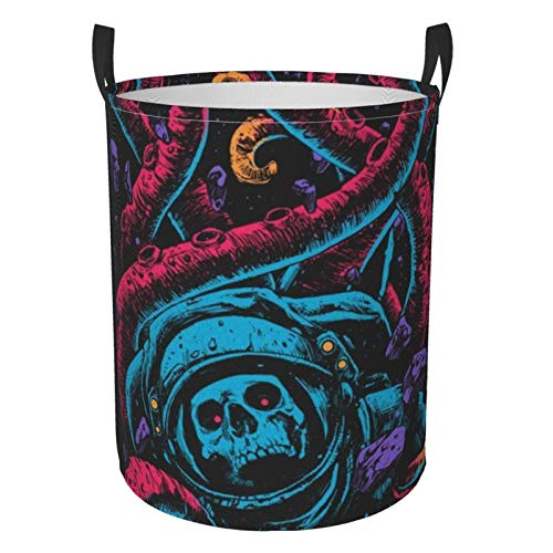 Collapsible Round Laundry Basket Cool Colorful Astronaut Skull Laundry Hamper Large Capacity Storage Bin Kids Toy Clothes Organizer With Strong Handle Home Dorm Room Decor