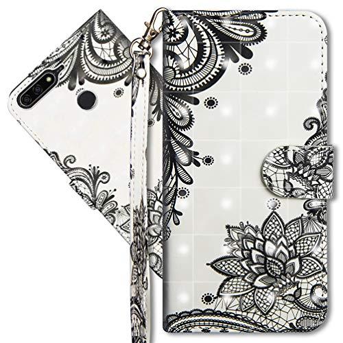 MRSTER Huawei Y7 2018 Handytasche, Leder Schutzhülle Brieftasche Hülle Flip Hülle 3D Muster Cover mit Kartenfach Magnet Tasche Handyhüllen für Huawei Y7 2018 / Honor 7C. YX 3D - Lace Flower