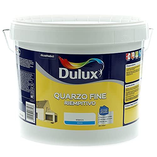 Dulux Pittura Riempitiva a Base di Farina di Quarzo a Grana Fine per Esterni Anti Alga e Anti Muffa , 10 Litri, Bianco