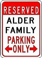 アルミメタルノベルティ危険サイン、アルダーファミリー駐車場警告通知ガレージサイン、男の洞窟シックな壁の装飾レトロな金属面白いリビングルームのポスター