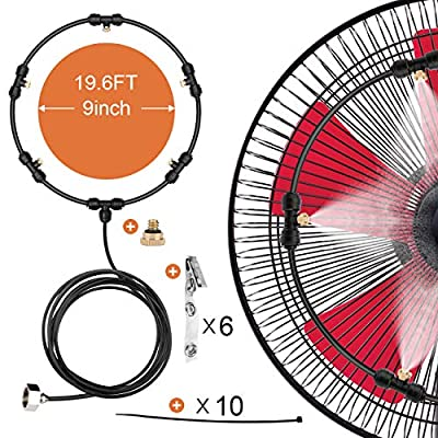 HONYOU Fan Misting Cooling Kit for DIY Outdoor Mist Fan 19.6 Ft (6M)
