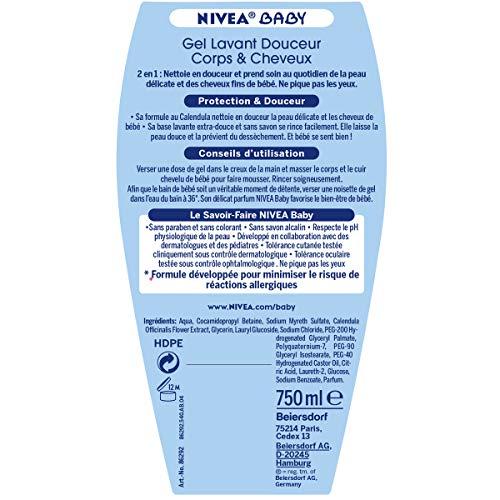 NIVEA Baby Gel Lavant Corps et Cheveux (2 x 750 ml), Gel douche hypoallergénique qui...