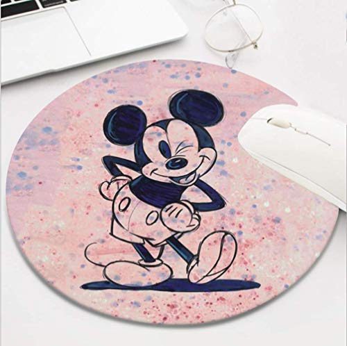 Round Gaming Mickey Mouse Mouse Pad, Non-Slip Rubber Mousepad for Desktop Laptop Computer Keyboard,Funny Cute Office and Home Gift (8 Inch)