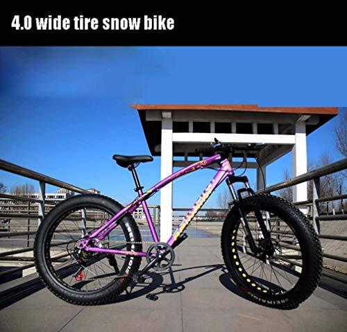 LJ Fahrrad, 24 Zoll Adult Fat Tire Mountainbike, Doppelscheibenbremse Schneerad, High Carbon Carbon Frame Cruiser Bikes Herren, Aluminiumlegierung Felgen Räder Beach Bicycles, Gold, 27-Gang,Lila,7 Ge