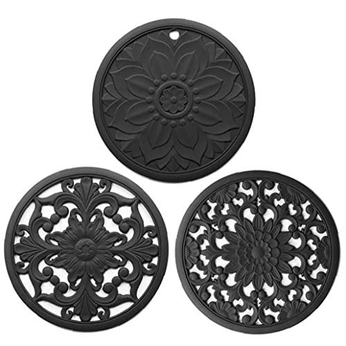 AUCDK Salvamanteles Mat Pot Cojín del Aislamiento De Calor Coaster Hueco Tallado De Silicona Antideslizante Flexible para 3pcs Encimera Negro