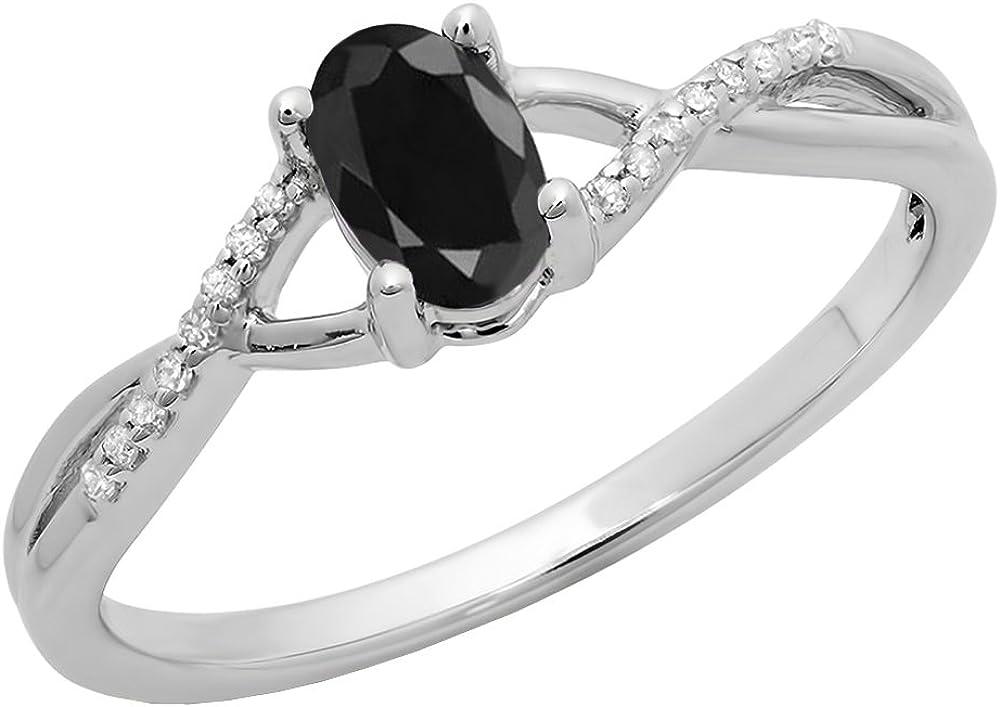Dazzlingrock Collection 10K 6X4 MM Gemstone & White Diamond Bridal Swirl Engagement Promise Ring, White Gold