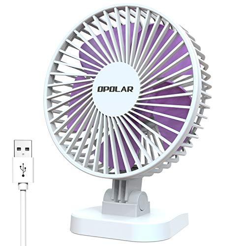 OPOLAR Ventilador de escritorio pequeño para mesa de oficina, lindo pero potente, 3 velocidades, alimentado por USB, ajuste de 40°, ventilador personal portátil silencioso 2019 (enchufe USB de 1,5 m)