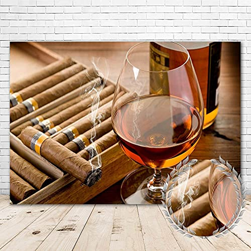 Cigar Backdrop for Men Party Supplies 7x5 Vinyl Cigar Whiskey Glass Photography Background Man 30th 40th 50th Birthday Party Decorations Wall Banner Poster Photo Booth Props