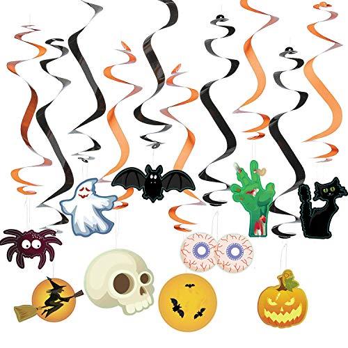 Jonami Hallowen Decorazioni Halloween Kit Casa – 30 Decorazioni da Appendere, Halloween Swirls Hanging Swirls, Decorazioni Appese per Feste di Halloween, Decorazioni per Porte