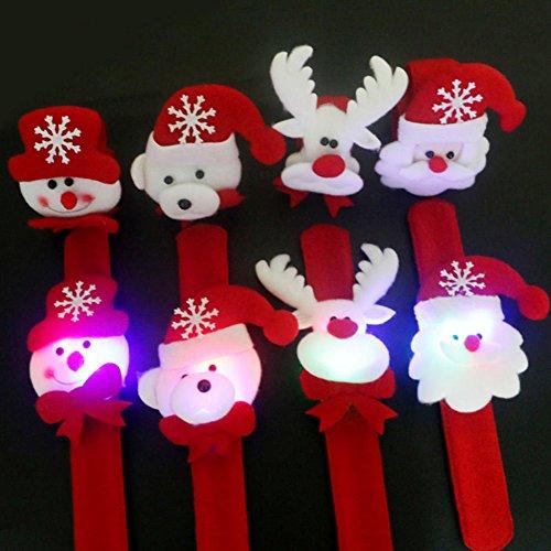 H87yC4ra Pulseras De Navidad Pulseras Pulseras De Bofetada, Luz LED Resplandor Fiesta De Navidad Favores Rellenos De Bolsas Rellenos De Calcetines De Navidad Para Niños Adultos 2