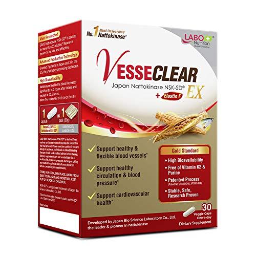LABO Nutrition VesseCLEAR EX: Nattokinase NSK-SD+Elastin F for Clean & Flexible Blood Vessel....