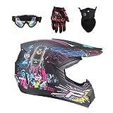 Lvguang Unisex Schutzhelm Mopedhelm Motocross Helm für Motorrad Crossbike & Motorrad Gezeichnete Gesichtsmaske & Motorradbrille & Handschuhe für Motorräder...