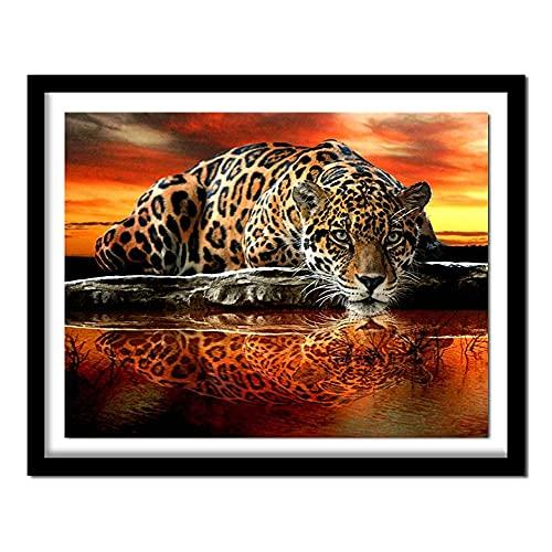 ZXXGA DIY 5D Kit de Pintura de Diamantes Leopardo Animal Rhinestone Bordado Imagen Punto de Cruz para la decoración de la Pared del hogar Diamante Redondo 40x30cm