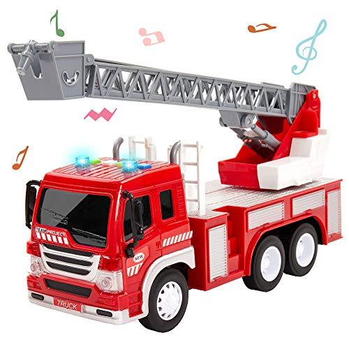 HERSITY Feuerwehr Spielzeug mit Sound und Licht Feuerwehrauto Groß mit Drehleiter Spielzeugauto Geschenk für Kinder Jungen 3 4 5 Jahre, 1:16 Fahrzeuge Kinderspielzeug