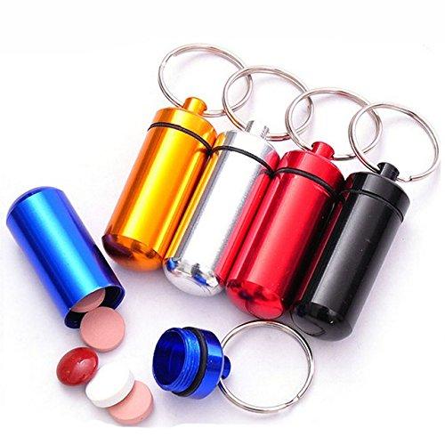 携帯用ピルケース 薬 ケース 薬入れ キーホルダー アルミ合金 防水 アウトドア (赤)
